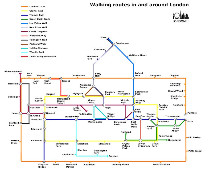 A London Walker's Tube Map by Matt Brown